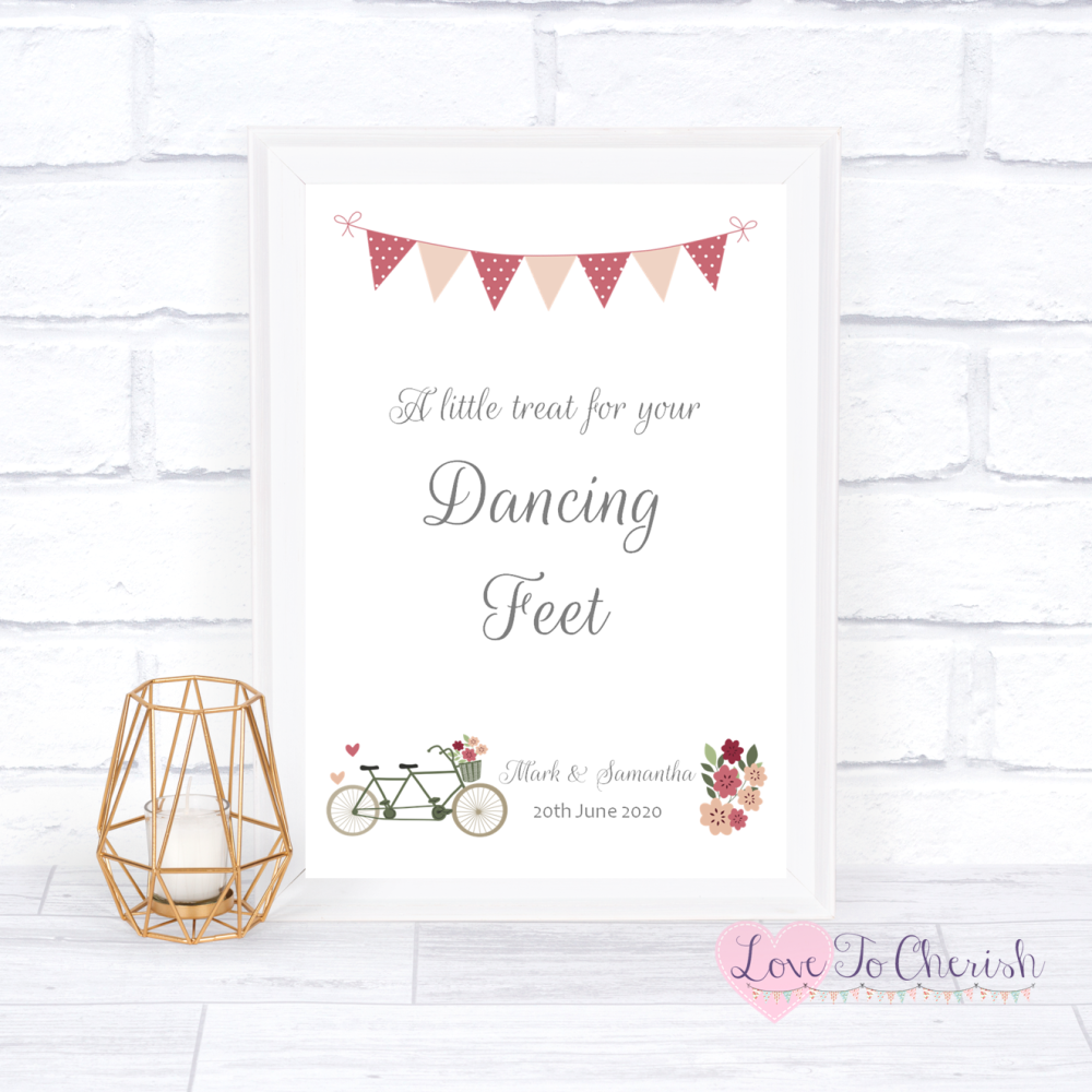 Dancing Feet / Flip Flop Wedding Sign - Vintage Tandem Bike/Bicycle Shabby