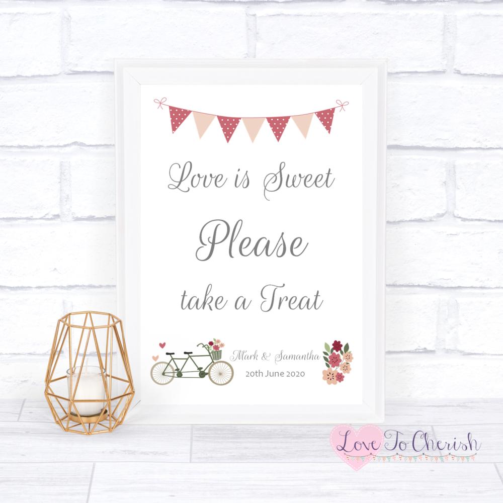 Love Is Sweet / Candy Table Wedding Sign - Vintage Tandem Bike/Bicycle Shab