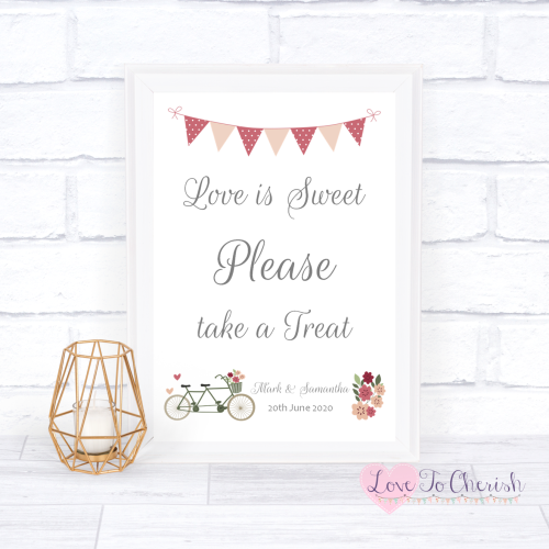 Love Is Sweet / Candy Table Wedding Sign - Vintage Tandem Bike/Bicycle Shab