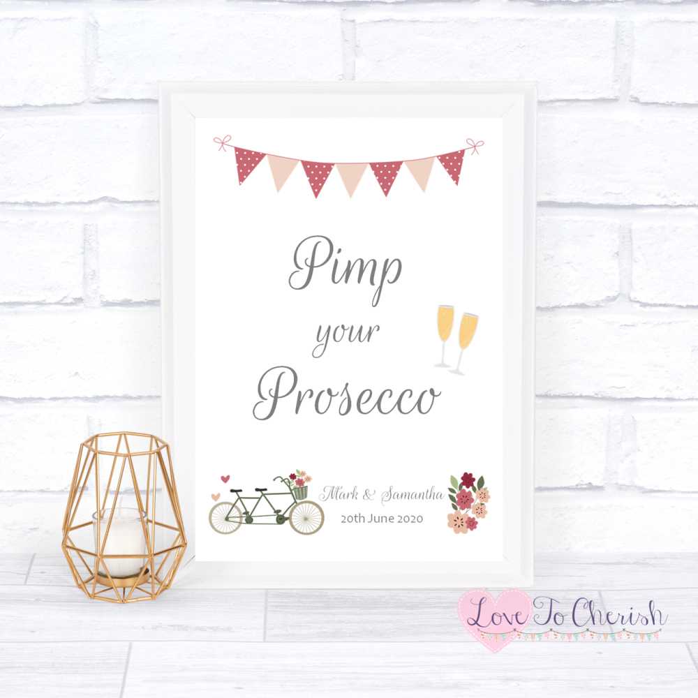 Pimp Your Prosecco Wedding Sign - Vintage Tandem Bike/Bicycle Shabby Chic |