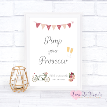 Vintage Tandem Bike/Bicycle Shabby Chic - Pimp Your Prosecco - Wedding Sign