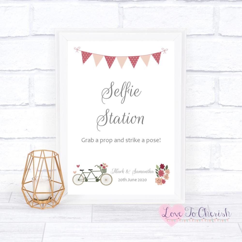 Selfie Station Wedding Sign - Vintage Tandem Bike/Bicycle Shabby Chic | Lov