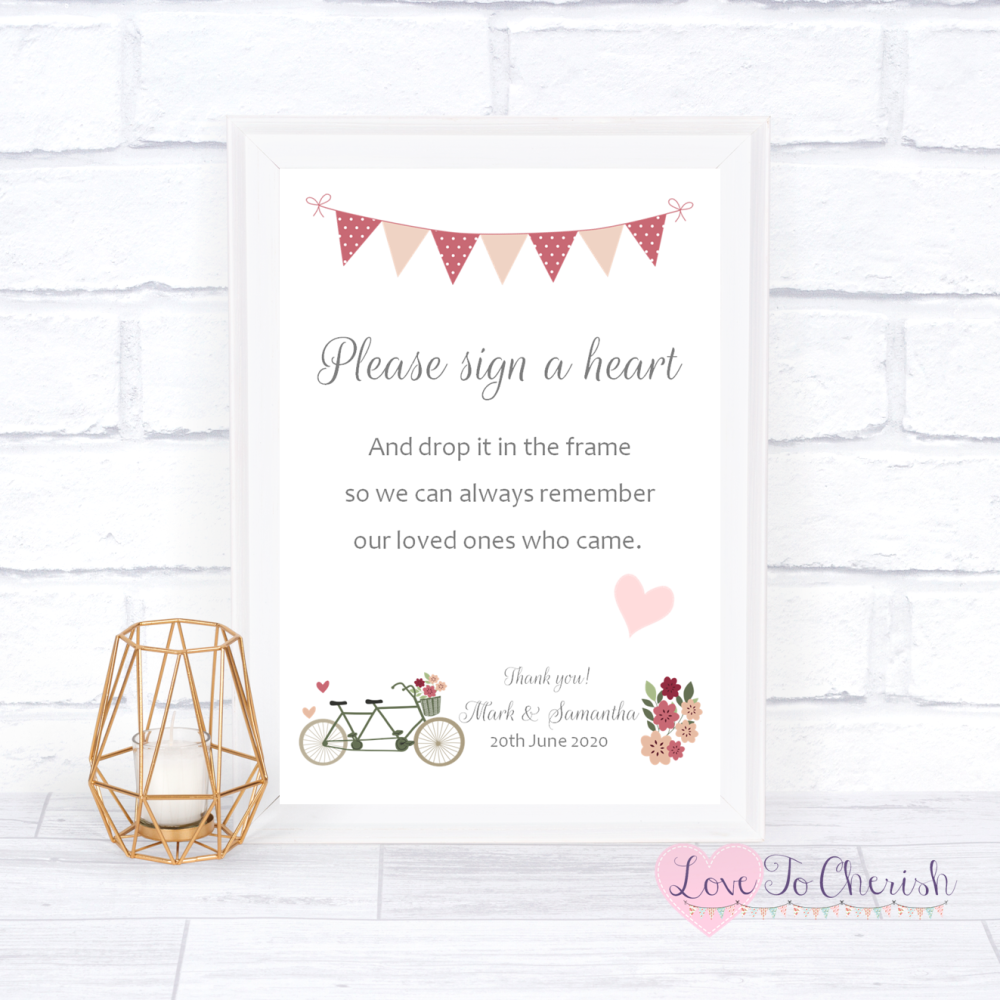 Sign A Heart Wedding Sign - Vintage Tandem Bike/Bicycle Shabby Chic   Love
