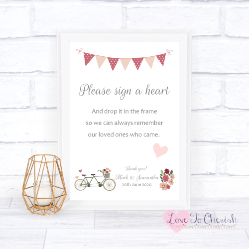 Sign A Heart Wedding Sign - Vintage Tandem Bike/Bicycle Shabby Chic | Love