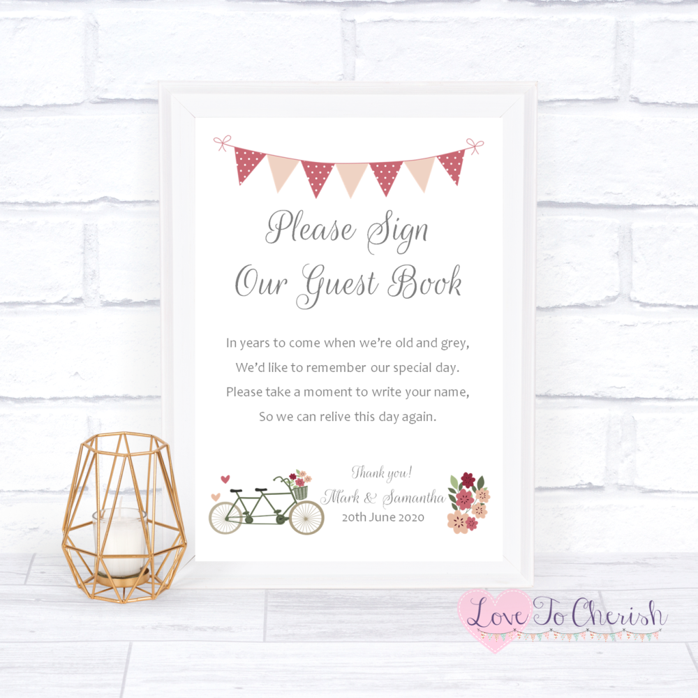 Sign Our Guest Book Wedding Sign - Vintage Tandem Bike/Bicycle Shabby Chic