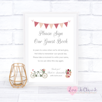 Vintage Tandem Bike/Bicycle Shabby Chic - Sign Our Guest Book - Wedding Sign