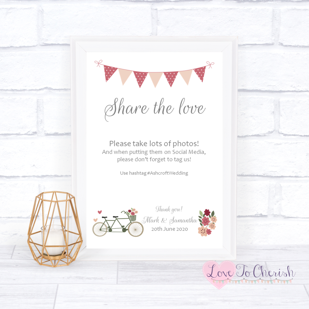 Share The Love / Photo Sharing Wedding Sign - Vintage Tandem Bike/Bicycle S
