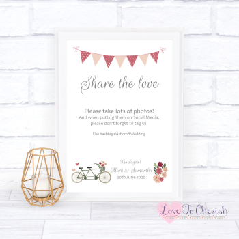 Vintage Tandem Bike/Bicycle Shabby Chic - Share The Love - Photo Sharing - Wedding Sign