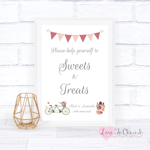 Sweets & Treats/ Candy Table Wedding Sign - Vintage Tandem Bike/Bicycle Sha
