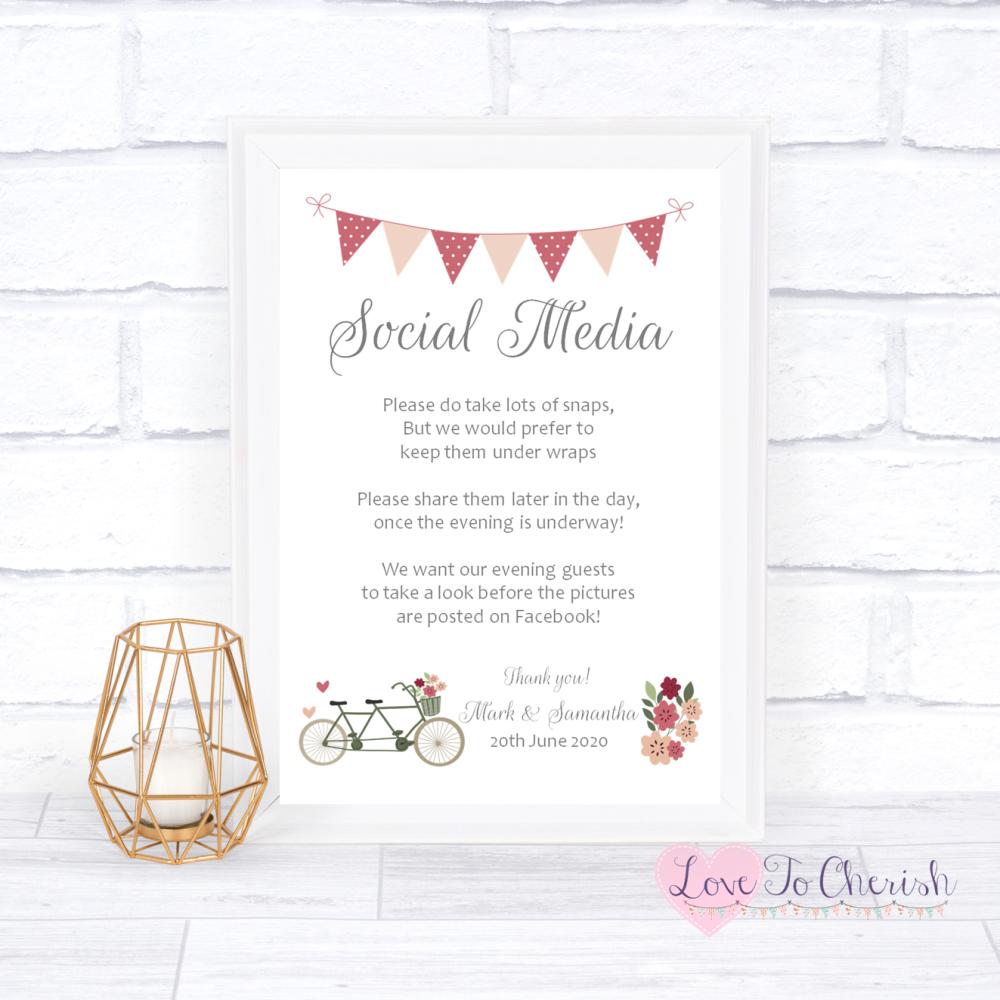 Social Media Wedding Sign - Vintage Tandem Bike/Bicycle Shabby Chic | Love