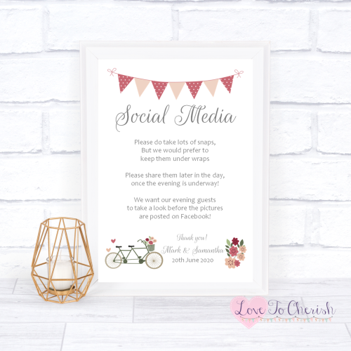 Social Media Wedding Sign - Vintage Tandem Bike/Bicycle Shabby Chic | Love