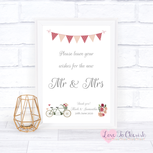 Wishes for the Mr & Mrs Wedding Sign - Vintage Tandem Bike/Bicycle Shabby C