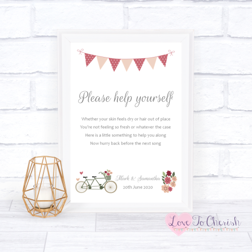 Toiletries/Bathroom Refresh Wedding Sign - Vintage Tandem Bike/Bicycle Shab