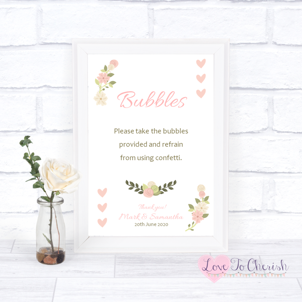 Bubbles Wedding Sign - Vintage/Shabby Chic Flowers & Pink Hearts   Love To