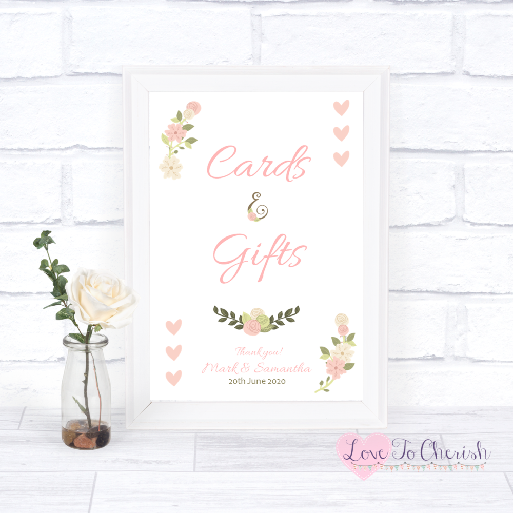 Cards & Gifts Wedding Sign - Vintage/Shabby Chic Flowers & Pink Hearts | Lo