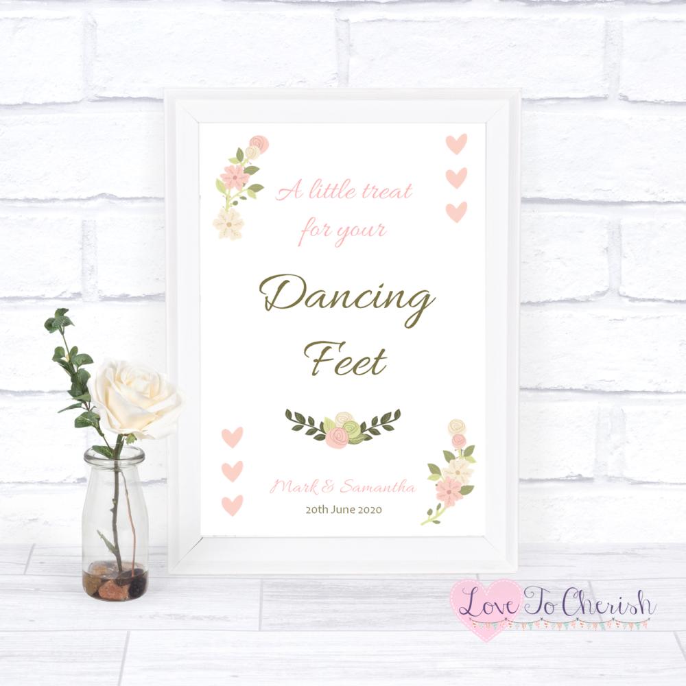 Dancing Feet / Flip Flops Wedding Sign- Vintage/Shabby Chic Flowers & Pink