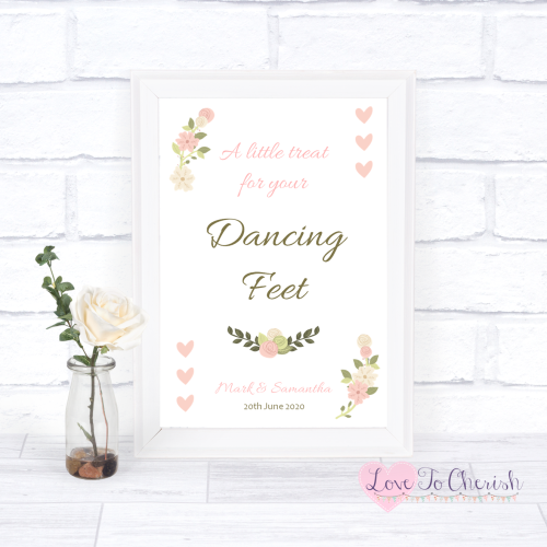 Dancing Feet / Flip Flops Wedding Sign- Vintage/Shabby Chic Flowers & Pink