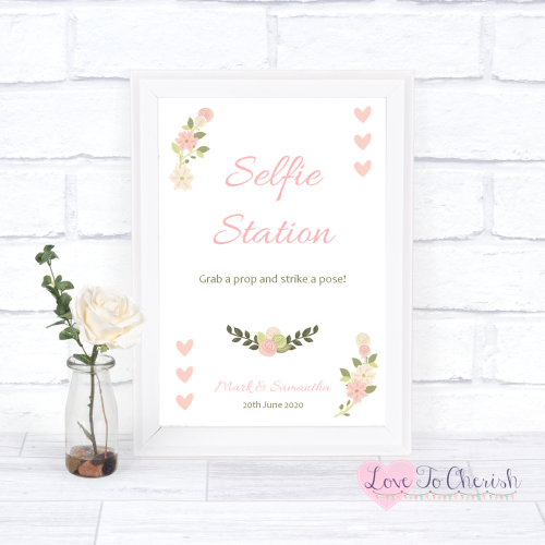 Selfie Station Wedding Sign - Vintage/Shabby Chic Flowers & Pink Hearts | L