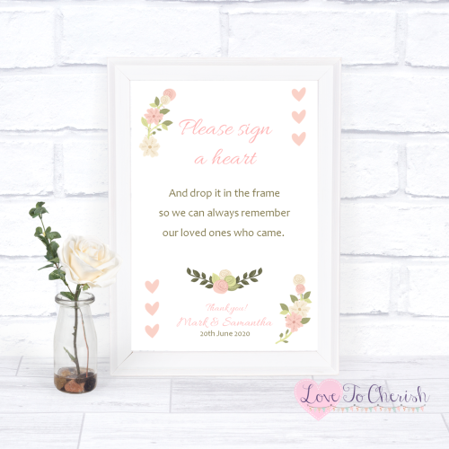 Sign A Heart Wedding Sign- Vintage/Shabby Chic Flowers & Pink Hearts   Love