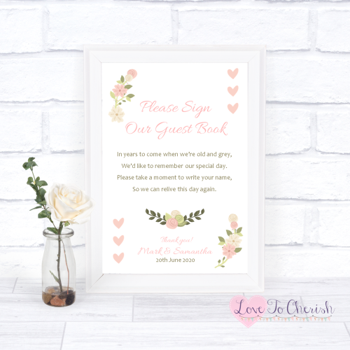 Sign Our Guest Book Wedding Sign - Vintage/Shabby Chic Flowers & Pink Heart