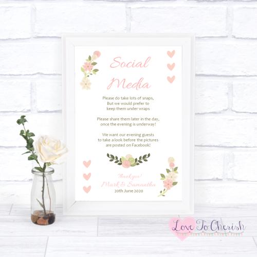 Social Media Wedding Sign - Vintage/Shabby Chic Flowers & Pink Hearts | Lov