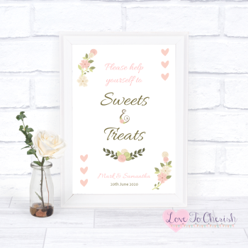 Vintage/Shabby Chic Flowers & Pink Hearts - Sweets & Treats - Candy Table Wedding Sign