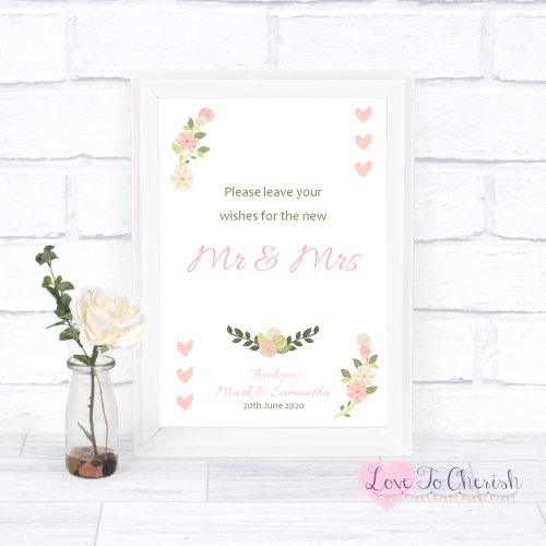 Wishes for the Mr & Mrs Wedding Sign - Vintage/Shabby Chic Flowers & Pink H