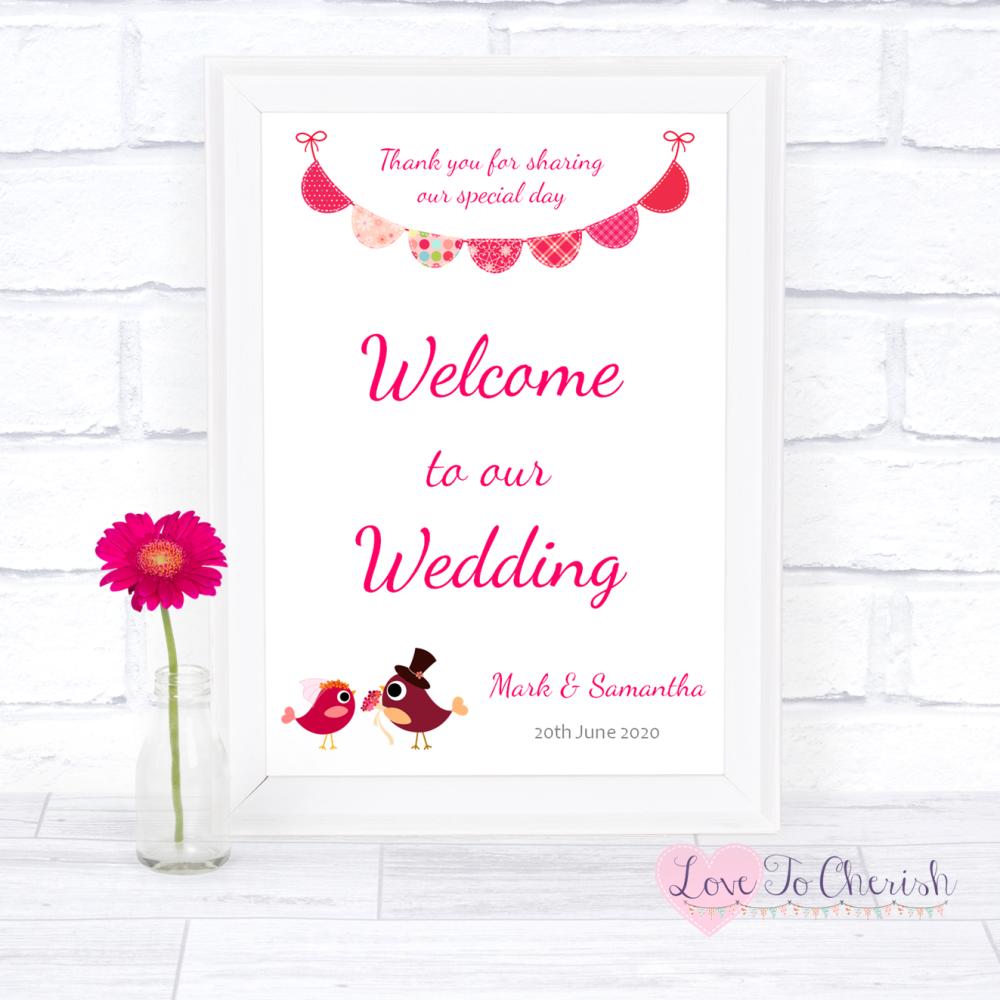 Welcome To Our Wedding Sign - Bride & Groom Cute Love Birds Dark Pink   Lov