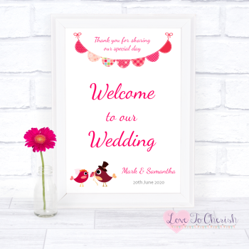 Bride & Groom Cute Love Birds Dark Pink - Welcome To Our Wedding Sign