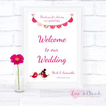 Bride & Groom Cute Love Birds Dark Pink - Welcome To Our Wedding Sign