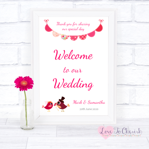 Welcome To Our Wedding Sign - Bride & Groom Cute Love Birds Dark Pink | Lov