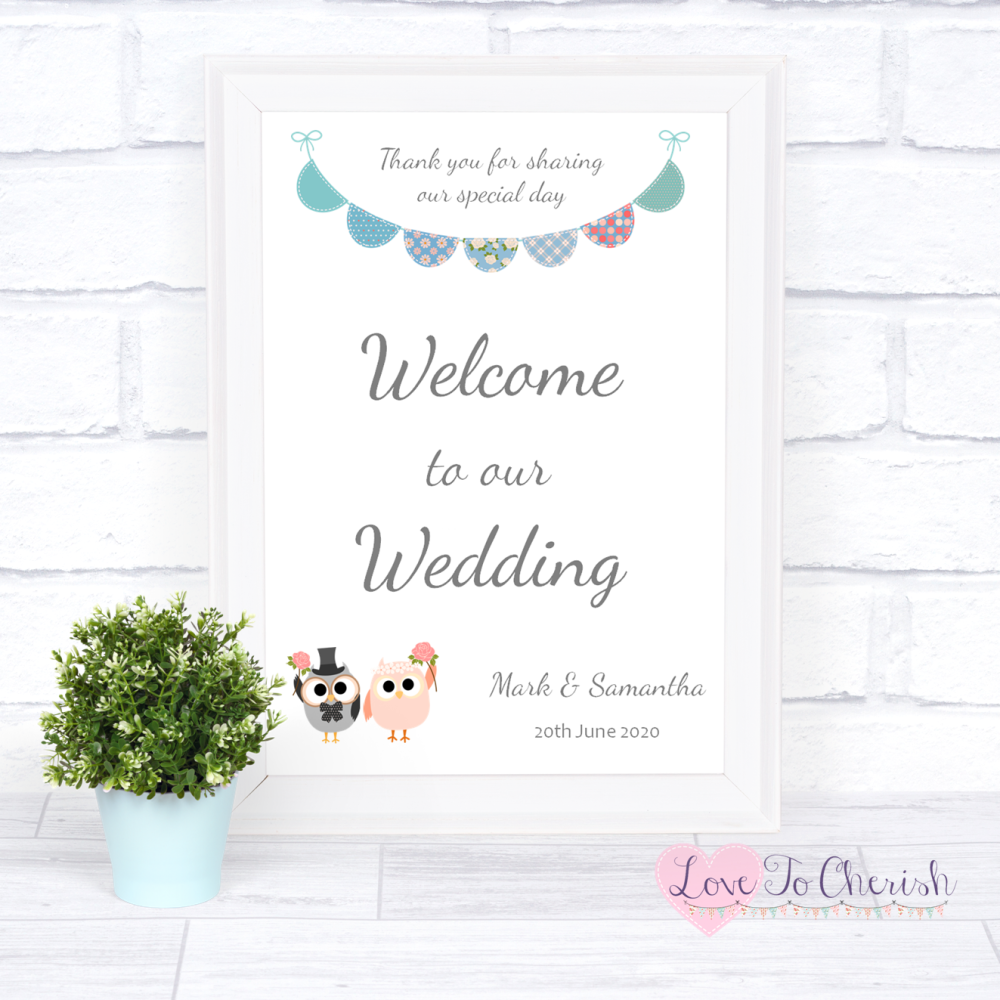 Welcome To Our Wedding Sign - Bride & Groom Cute Owls & Bunting Green/Blue