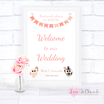 Bride & Groom Cute Owls & Bunting Peach - Welcome To Our Wedding Sign