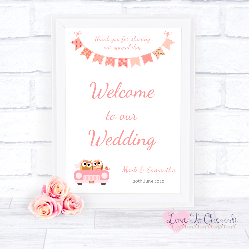 Welcome To Our Wedding Sign - Bride & Groom Cute Owls in Car Peach | Love T