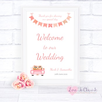 Bride & Groom Cute Owls in Car Peach - Welcome To Our Wedding Sign