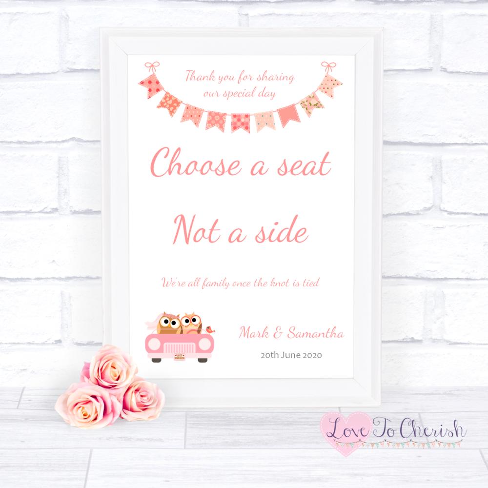 Choose A Seat Not A Side Wedding Sign Bride & Groom Cute Owls in Car Peach