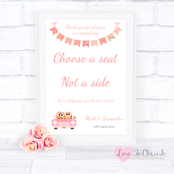 Bride & Groom Cute Owls in Car Peach - Choose A Seat Not A Side - Wedding Sign