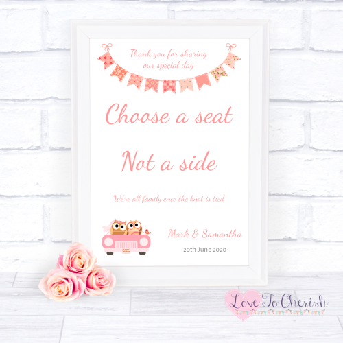 Choose A Seat Not A Side Wedding Sign Bride & Groom Cute Owls in Car Peach