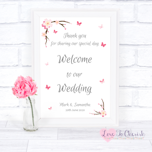 Welcome To Our Wedding Sign - Cherry Blossom & Butterflies | Love To Cheris