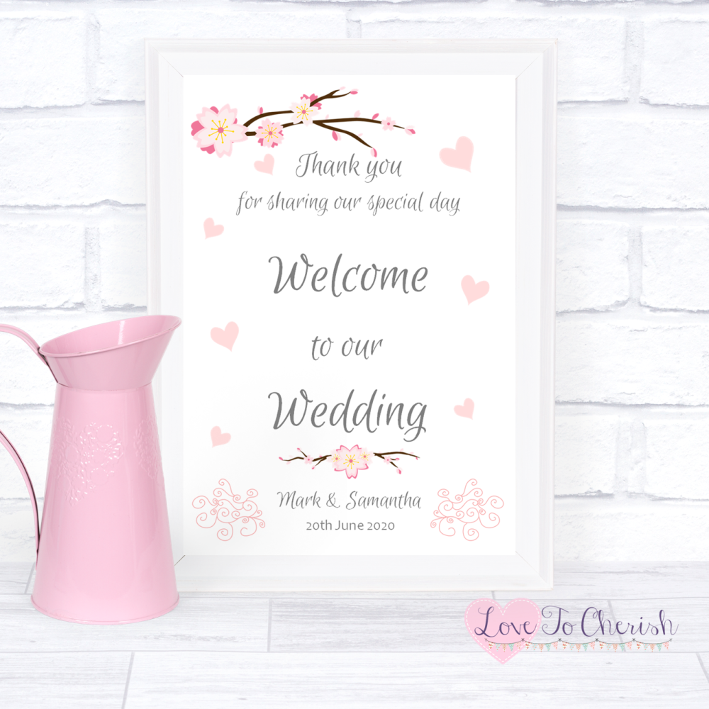 Welcome To Our Wedding Sign - Cherry Blossom & Pink Hearts   Love To Cheris