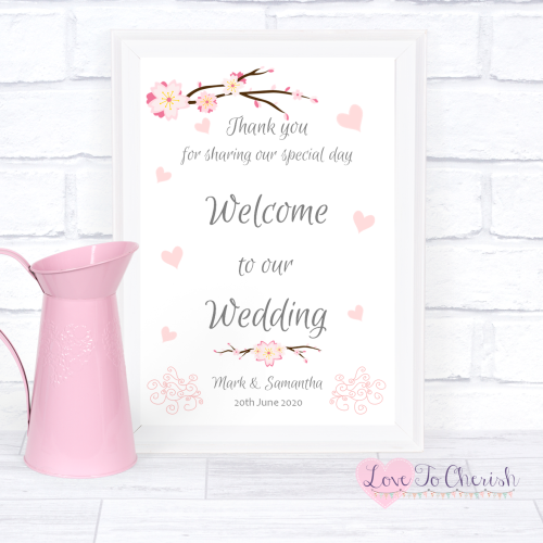 Welcome To Our Wedding Sign - Cherry Blossom & Pink Hearts | Love To Cheris