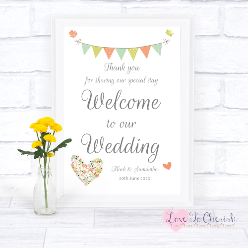 Welcome To Our Wedding Sign - Shabby Chic Flower Heart & Bunting  | Love To