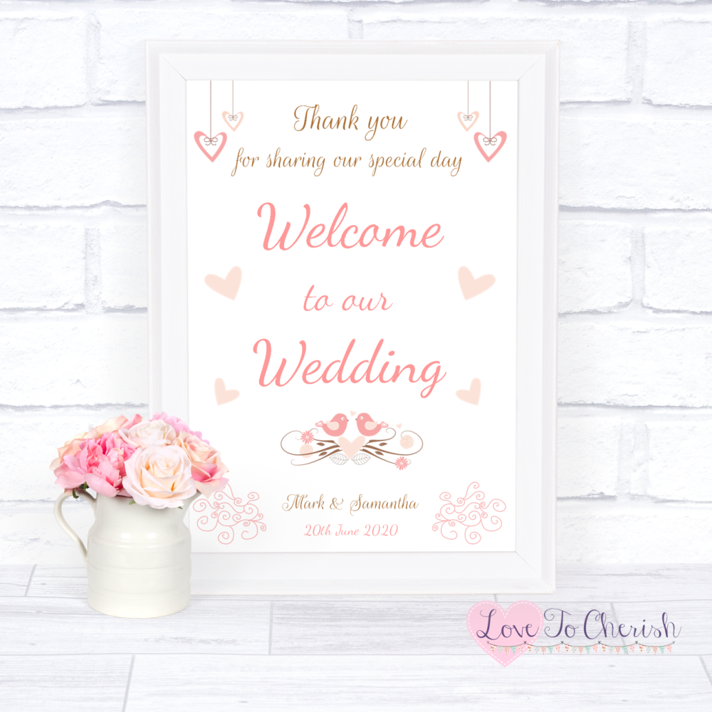Welcome To Our Wedding Sign - Shabby Chic Hanging Hearts & Love Birds | Lov
