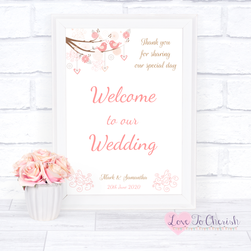 Welcome To Our Wedding Sign - Shabby Chic Hearts & Love Birds in Tree | Lov