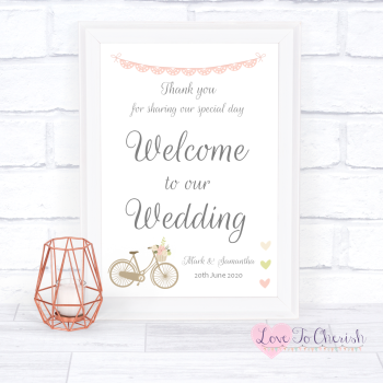 Vintage Bike/Bicycle Shabby Chic Pink Lace Bunting - Welcome To Our Wedding Sign
