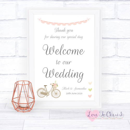 Welcome To Our Wedding - Vintage Bike/Bicycle Shabby Chic Pink Lace Bunting
