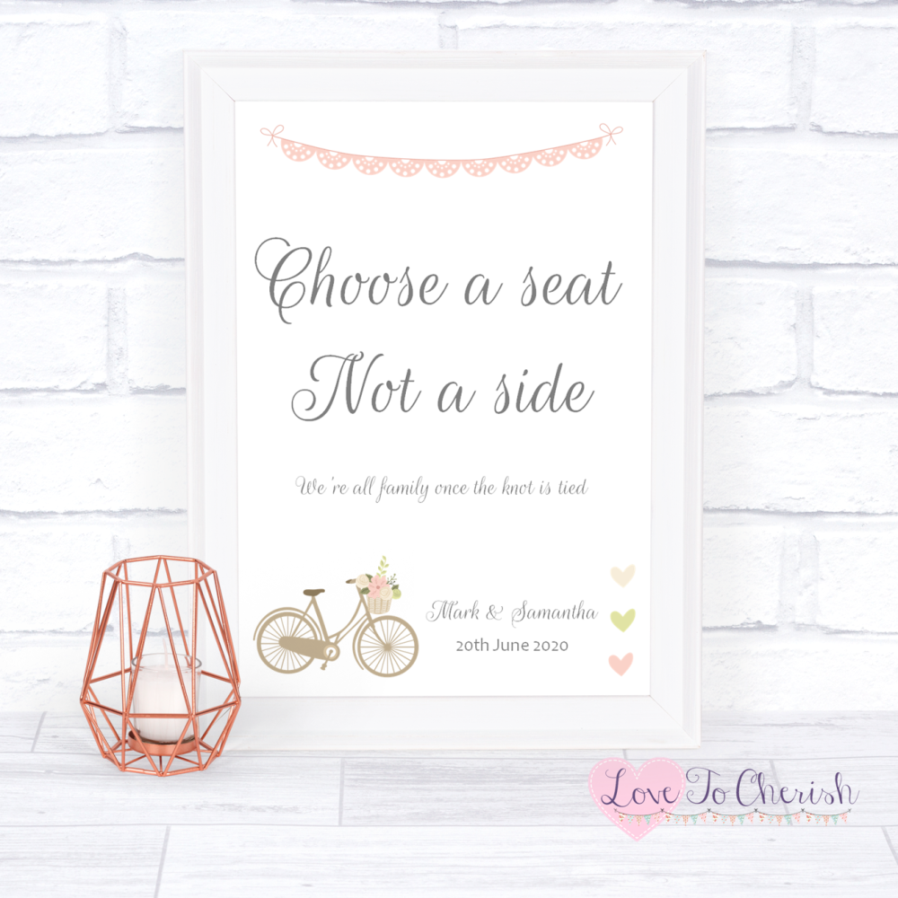Choose A Seat Not A Side Wedding Sign Vintage Bike/Bicycle Shabby Chic Pink