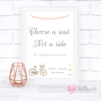 Vintage Bike/Bicycle Shabby Chic Pink Lace Bunting - Choose A Seat Not A Side - Wedding Sign