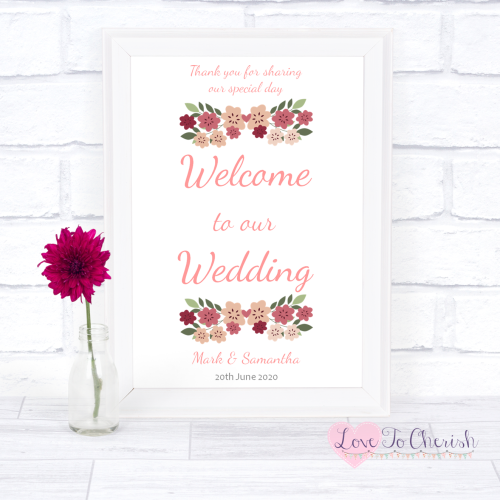 Welcome To Our Wedding Sign - Vintage Floral/Shabby Chic Flowers | Love To