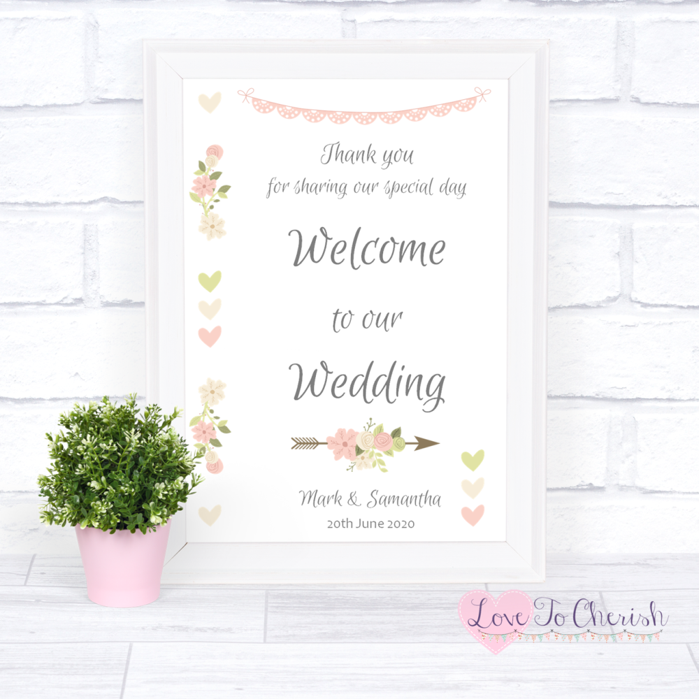 Welcome To Our Wedding Sign - Vintage Flowers & Hearts   Love To Cherish